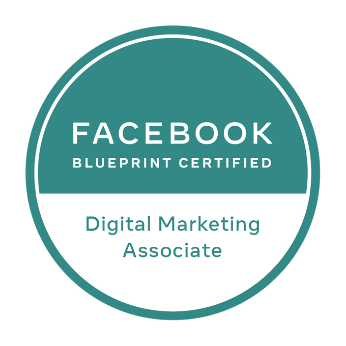 Badge de certification Facebook Blueprint Digital Marketing Associate.