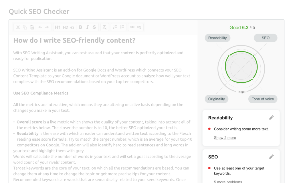 Screenshot of the SEO Writing Assistant tool from SEMRush.